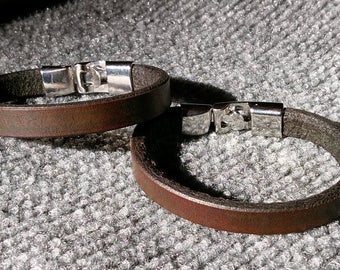 2 Leather Bracelets His & Hers Minimalist Handmade Dk. Brown Heavy Leather Bangle Bracelet Set