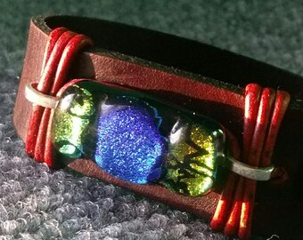 Bracelet Handmade Dk. Brown Leather w/Dichroic glass stone inclusion