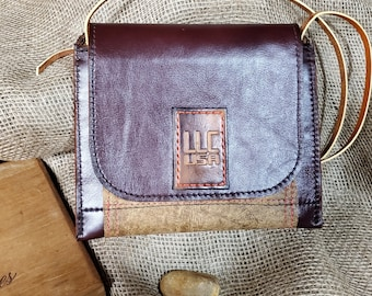 Lokey Leather Company Duo Brown Cross body Leather String Purse, Leather Shoulder Bag , Leather Clutch, Solid Brass Hardware