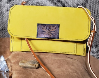 LLC Buffed Yellow Buckskin Leather String Purse, Yellow Goldenrod Leather Shoulder Bag , Brushed Leather Clutch, w/Brass Hardware