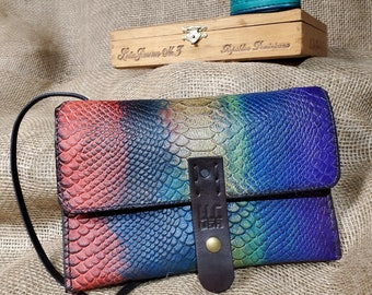LLC Printed Fish Leather String Purse, Airbrushed Leather Shoulder Bag ,multi colored Leather Clutch,Brass Hardware