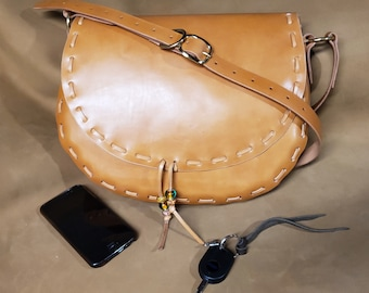 Leather Cross Body Purse,Shoulder Bag,Leather Saddle Bag, Full Grain Leather,Pocketbook Handmade Vegetable Tanned Leather Purse,Handbag