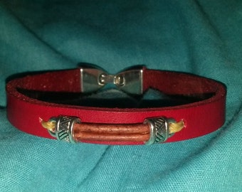 Handmade Red and Brown Layerd Leather Bracelet