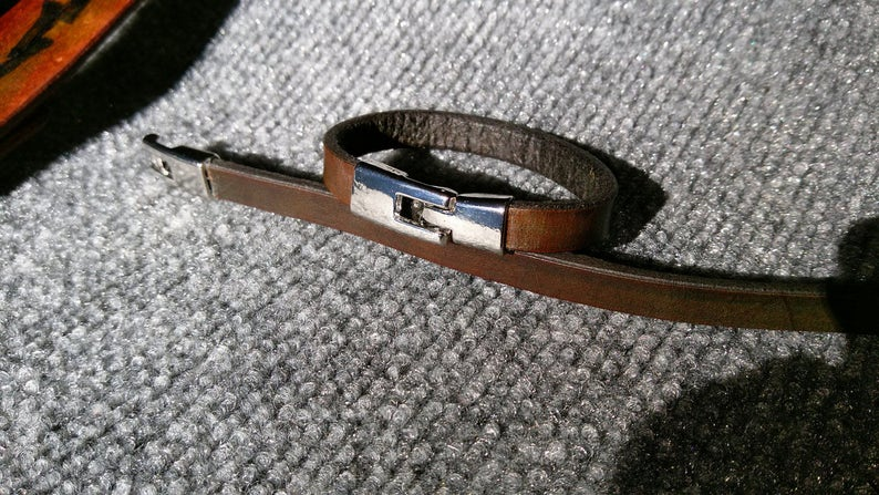 Brown Heavy Leather Bangle Bracelet Set 2 Leather Bracelets His /& Hers Minimalist Handmade Dk