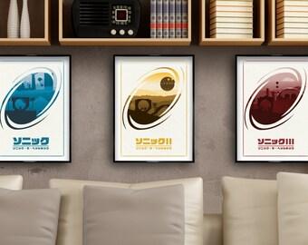 Sonic 1, 2, 3 & Knuckles. Minimalist Poster Set. Video Game Sega Art Print.