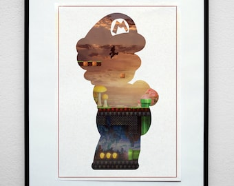 The Plumber. Minimalist Video Game Print Poster.