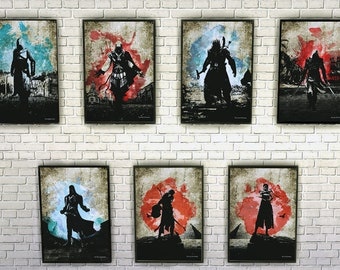 ASSASSINS. AC Inspired Video Game Minimalist Print Poster Collection.