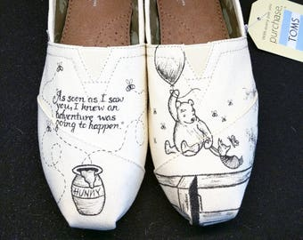 Disney Classic Winnie the Pooh and Piglet Love Wedding Custom hand painted  Bridal Shoes ac84d30c3
