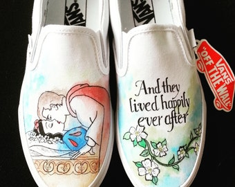 Disney Snow White and Prince Charming Happily Ever After Custom Made Hand Painted Shoes