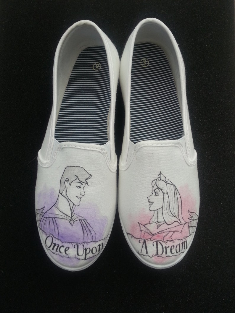 3c97cef978860 Disney's Sleeping Beauty Prince Phillip and Aurora Once Upon a Dream Hand  painted custom shoes!
