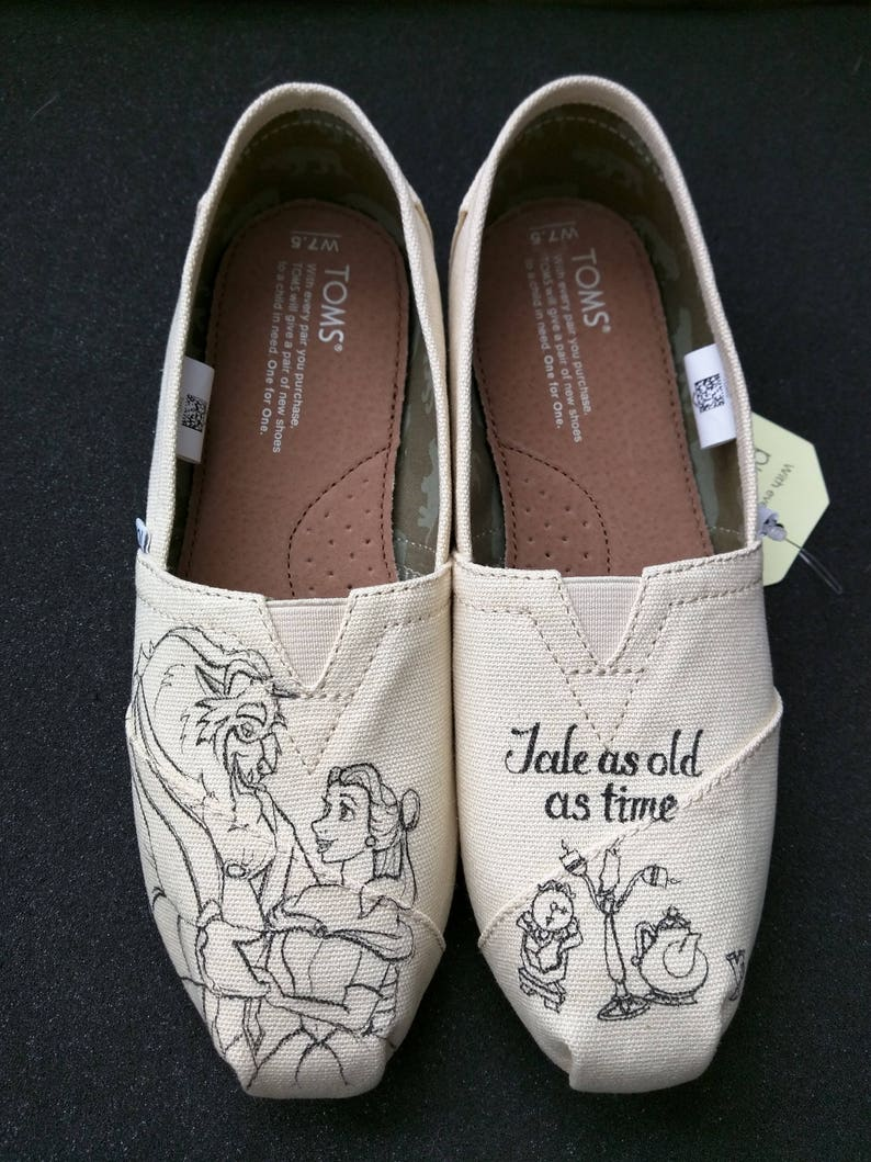 4af9b86d47c0 DIsney Beauty and the Beast Custom Hand Painted Wedding Shoes