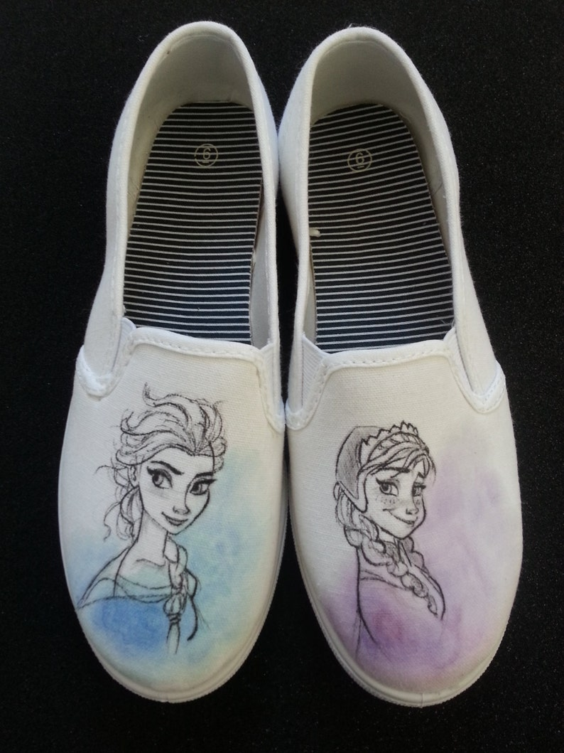 efcfb21d30d03f Disney s Frozen Anna and Elsa Custom Hand Painted Shoes
