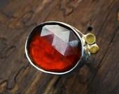 Hessonite Garnet Ring- Orange Rose Cut Garnet- Sterling Silver 24KT Gold