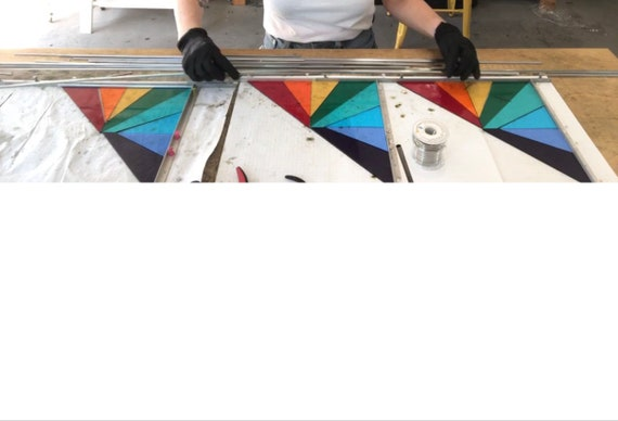 TWO Debbie Bean Stained Glass Corner Panel Rainbow Colorway***MADE to ORDER***