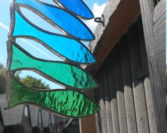 Five Blue & Green Stained Glass Fishy Spratts in a Row