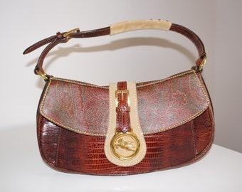 da87a1488aab Vintage Mint Cond Etro Paisley Bag Pegasus Winged Horse Logo, Etro Paisley  Shoulder Bag, Etro Handbag, Tan Suede Leather Trim, Made in Italy