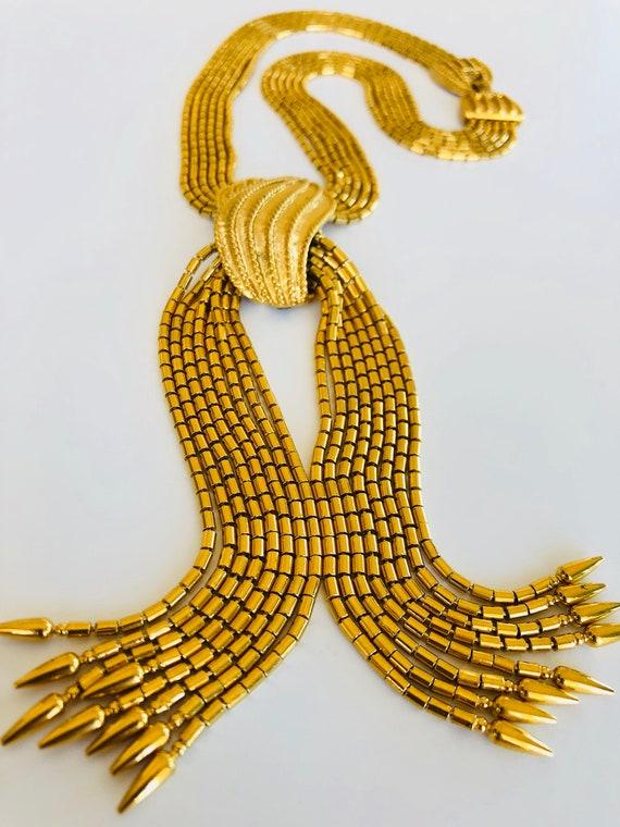 Vintage Monet Gold Tassel Choker Necklace Monet Gold Etsy