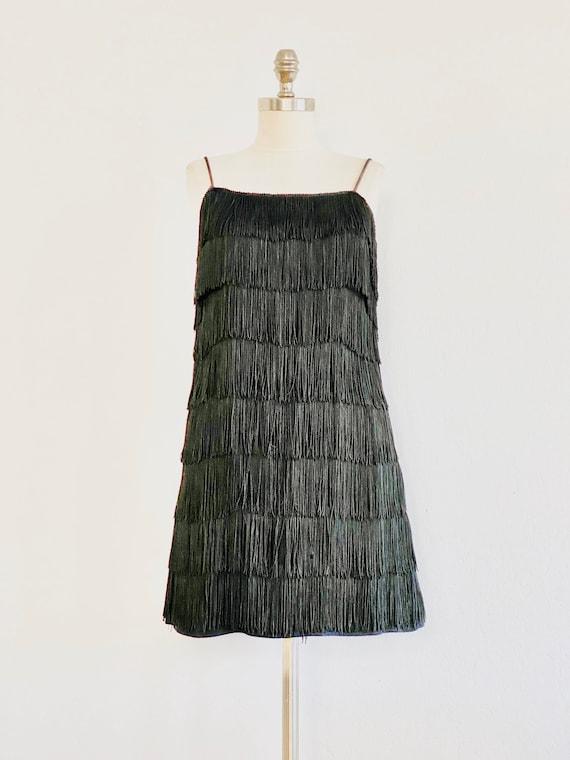 Original 1920's Flapper Black Dress Tassels Fringe