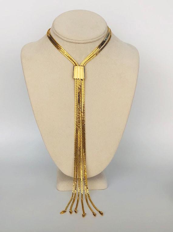 Vintage Monet Gold Multi Chain Slider Choker Necklace Monet Etsy