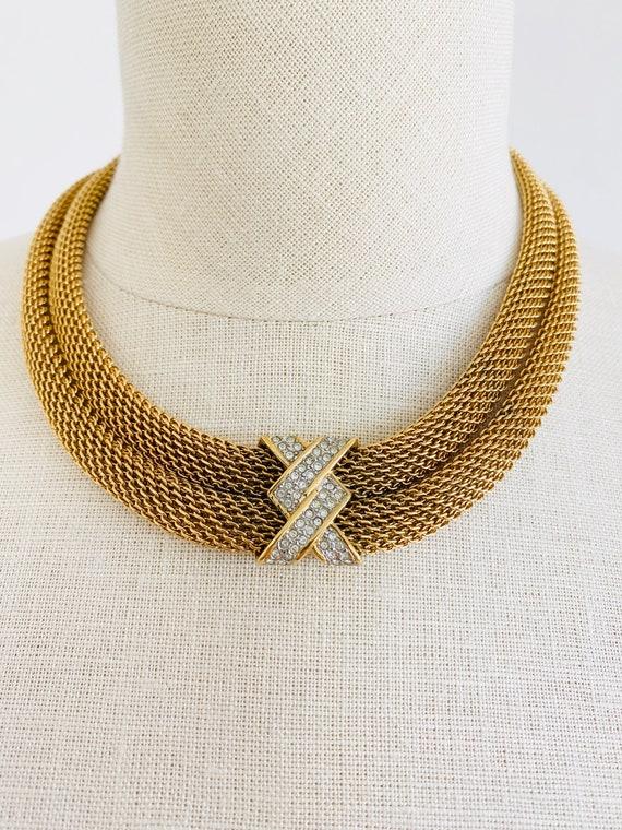 Vintage Monet Gold Mesh Choker Rhinestone Necklace