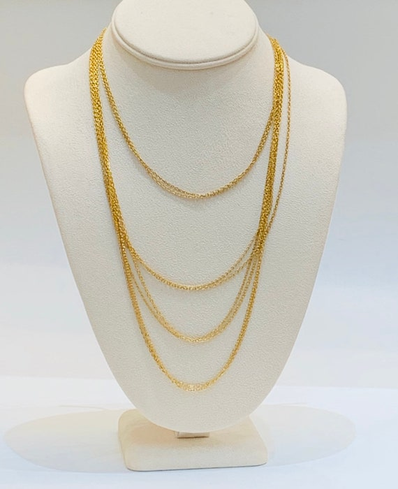 Elegant Vintage Gold Plated Multi Chain Layered Ne