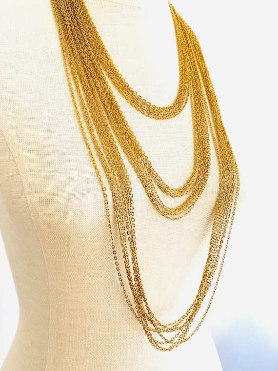 Vintage Trifari Multi Chain Tiered Necklace, Gold