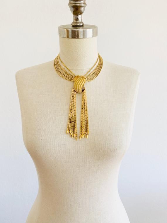 Vintage Monet Gold Tassel Choker Necklace, Monet G