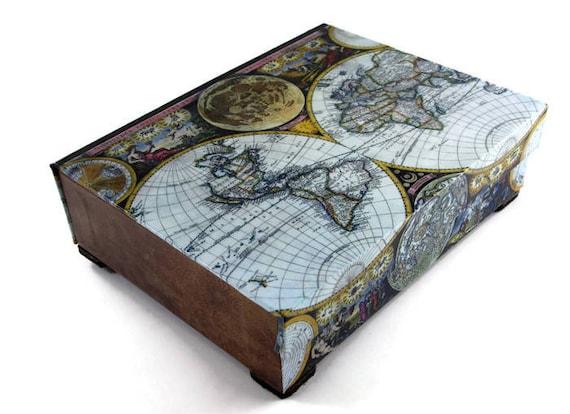 Desk organizer desk accessory old world map antique leather etsy image 0 gumiabroncs Images