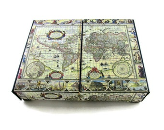 Desk oganizer antique world map, Desk accessories, Office accesories, Made to order