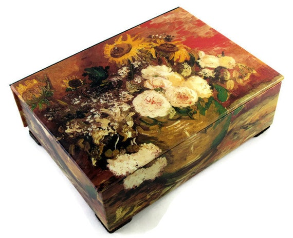 Decorative Box With Van Gogh Vase Of Flowers Keepsake Box Etsy