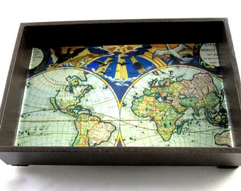 Desk organizer desk accessory old world map antique leather valet tray mens valet tray old world map vintage leather look tray desk tray catchall tray coffee table decor gift made to order gumiabroncs Image collections