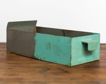 Antique Turquoise Industrial Card Catalog, Metal File Drawer- Storage Box- Bin