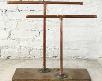 Industrial Copper Pipe Jewelry Stand