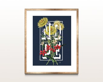 Vintage Flower Alphabet Print NOPE botanical giclee illustration prints office kitchen bedroom