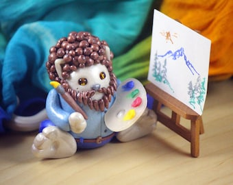 Bob Ross Inspirted Painted Kitty Polymer Clay Figure