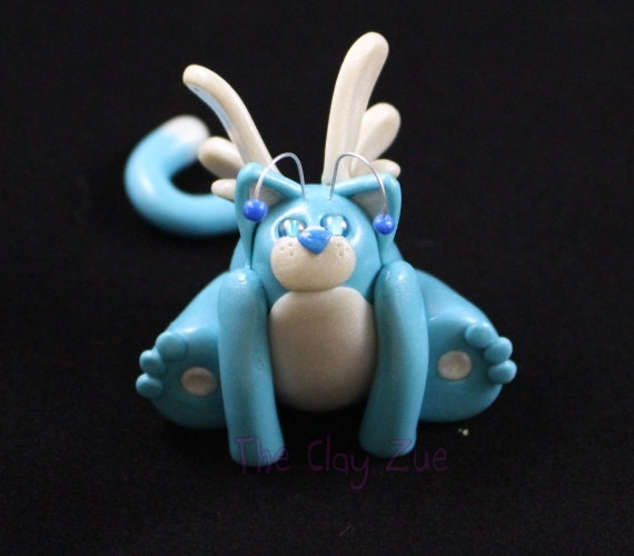 Niebieski Bajki Kot Polimeru Gliny Postać Etsy