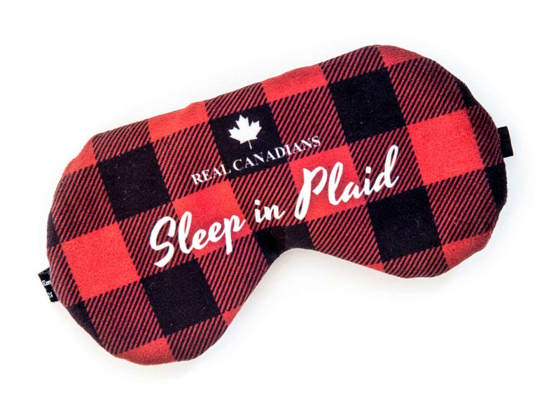 Plaid sleep mask  ADJUSTABLE lumberjack Great for traveling image 0