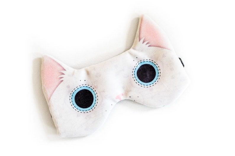 White cat sleep mask  ADJUSTABLE Great for traveling shift image 0