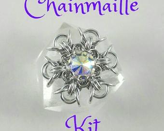 Chainmaille Pixie Snowflake Pendant Kit - Aluminum 47ss