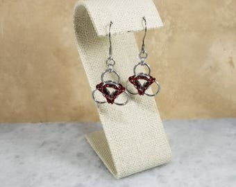 Chainmaille Aura Earrings Red & Silver