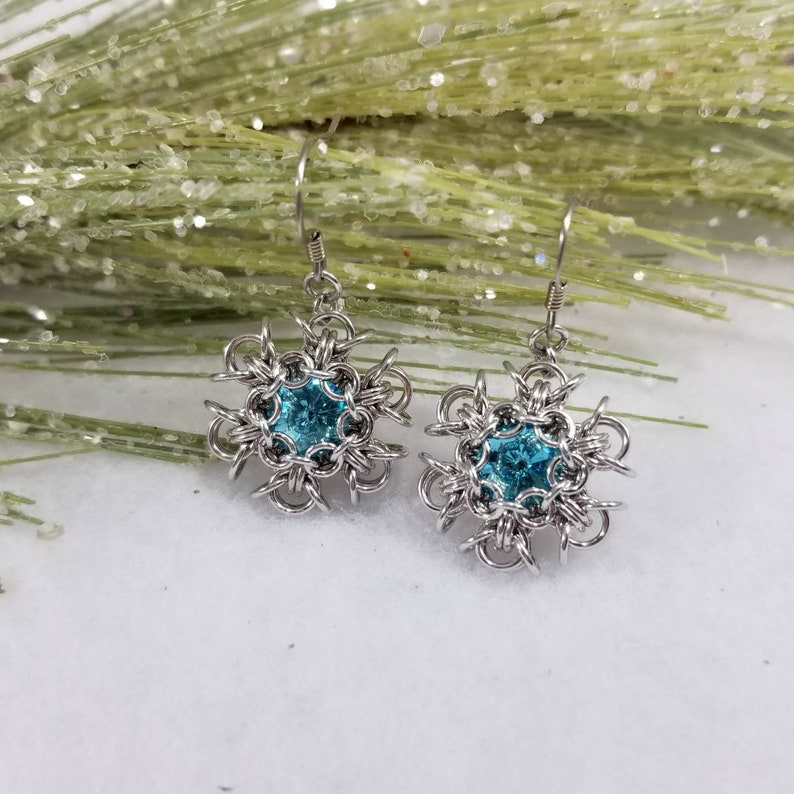 96735e9152443 Snowflake Earrings - Snowflake Jewelry - Aquamarine Swarovski- Crystal  Jewelry - Crystal Earrings - Holiday Jewelry for Her - Gifts for Her