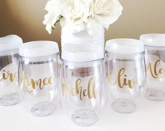 Sale! Personalized Wine Tumbler, Stemlesswith Name, Bev2go, Bridesmaid Bride Gift Bachelorette With Lid and Straw