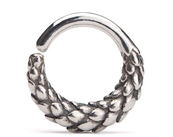 Septum Ring Nose Ring Dragon Body Jewelry Sterling Silver Bohemian Fashion Indian Style 14g 16g  Gift for Her - SE040SSO