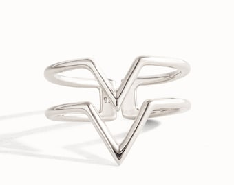 Stackable Ring Double Arrow Wire Ring Sterling Silver Adjustable Ring Wrap Ring Boho Jewelry  Gift for Her - FRI008SSS