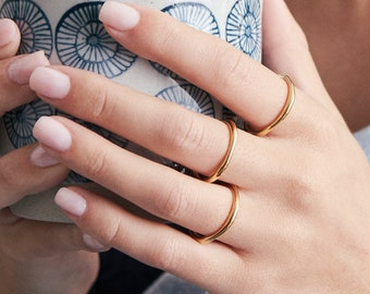 Stacking Silver Ring Sterling Silver & Gold Handmade Delicate Ring Modern Jewelry For Her  Gift for Her - FRI015