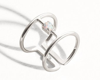 Fire Opal Ring White Moon Opal Sterling Silver Ring Wire Adjustable Ring Wrap Ring Boho Jewelry  Gift for Her - FRI007