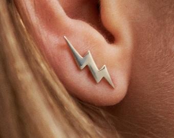 Bolt Earring Ear Climber 925 Sterling Silver Ear Cuff Lightning 14K Ear Crawler Chic Fashion Earrings Modern Jewelry Gift - FES009