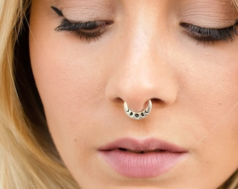 Moon Phase Septum Ring Nose Ring Celestial Jewelry Sterling Silver Bohemian Fashion Indian Style 14g 16g - SE041