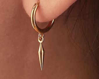 Pendulum Hoop Earrings Silver Small Charm Huggie Earrings Sterling Silver Boho Modern Jewelry Tiny Minimalist Gold Dainty Hoops - MHP009