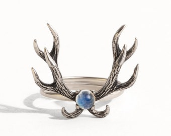 Deer Antler Ring Moonstone and Sterling Silver Adjustable Ring Boho Jewelry  Gift for Her - FRI011